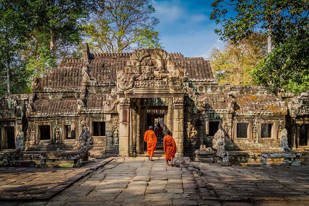 Monks in Angkor cultural festival in asia