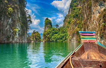 Boat on Khao Sok Lake in Thailand