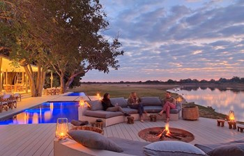 Time and Tide Chinzombo Camp South Luangwa Zambia - Panorama Pool Sunset