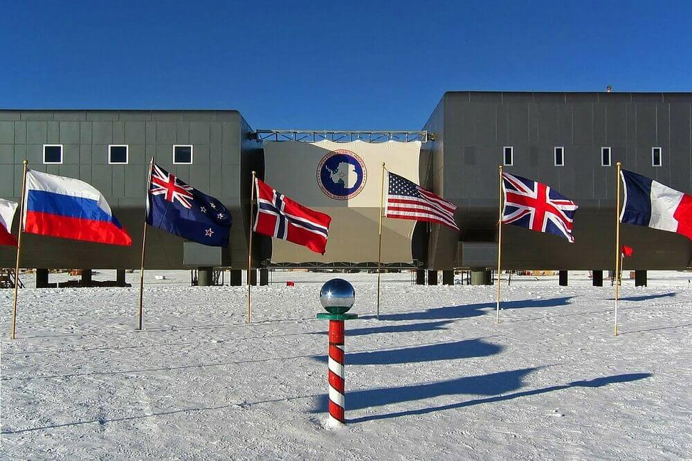 Antarctica station with flags