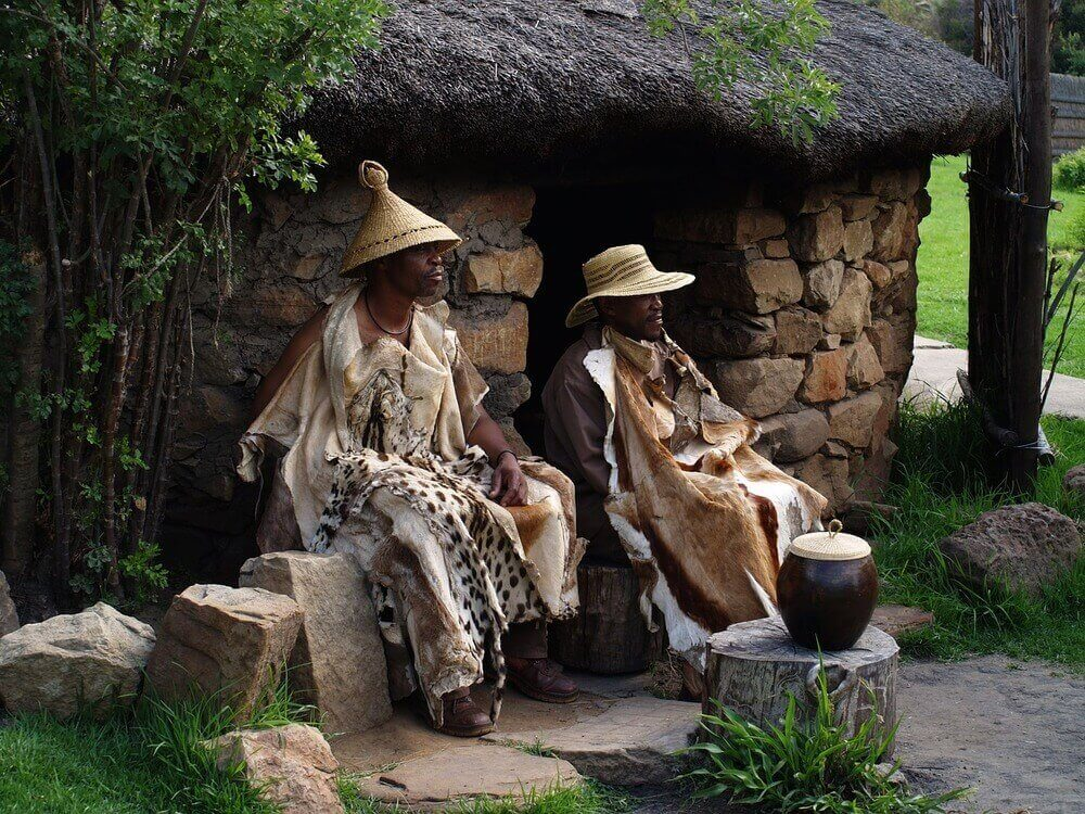 basotho men dressed in traditional costume in south africa