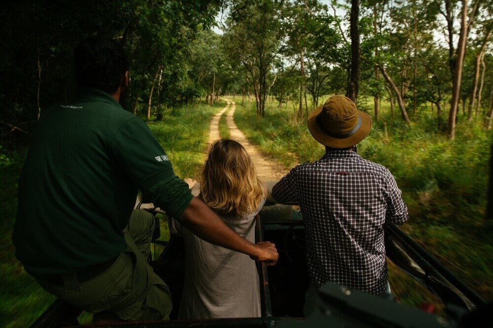 on a jeep safari through the forest of gal oya national park