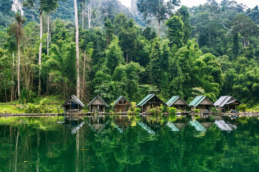 Floating resort in Khao Sok National Park in Thailand