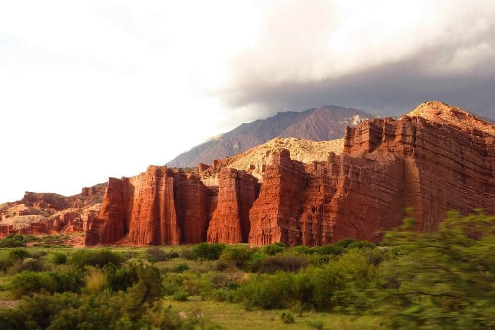 bright red rock formations northwest argentina