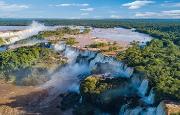 aerial view of the thundering Iguazu Falls in Argentina