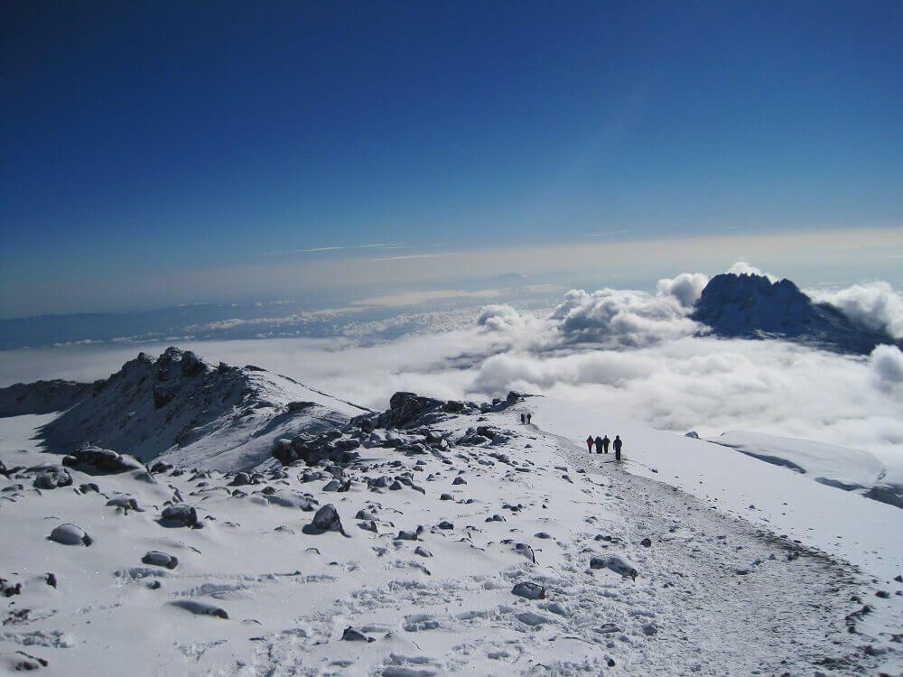 Kilimanjaro trekking in the snow in Tanzania