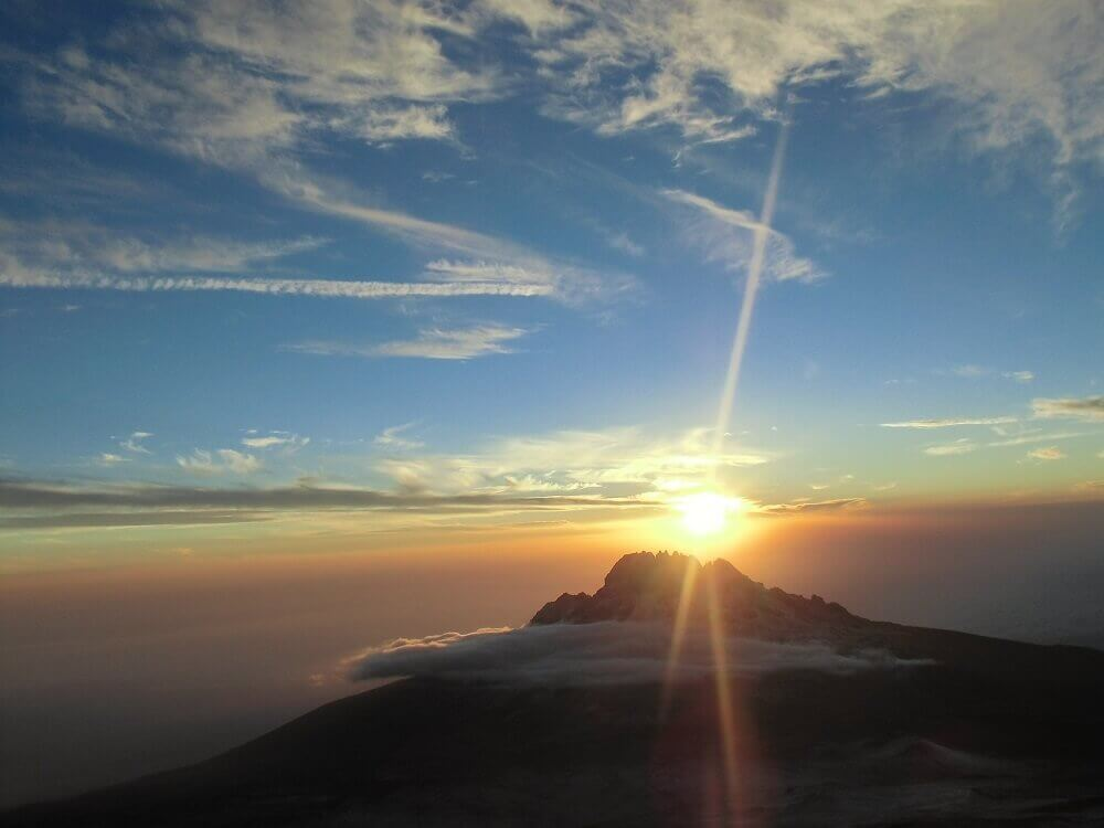 Sunrise from the summit of Mount Kilimanjaro in Tanzania