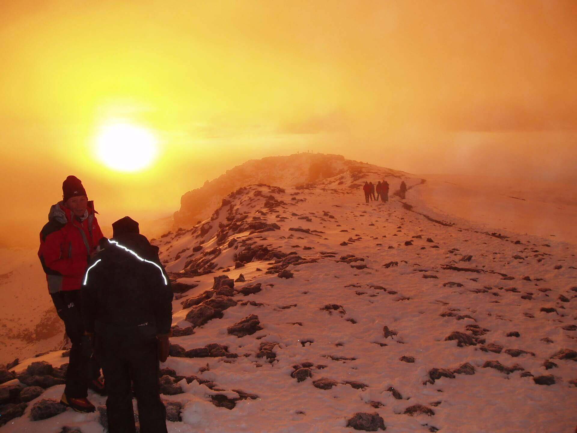 Mount Kilimanjaro trekking to the summit at sunrise