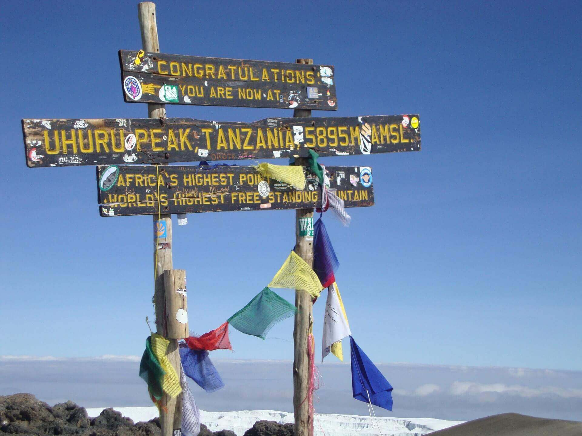 Uhuru Peak sign on the summit of Mount Kilimanjaro in Tanzania