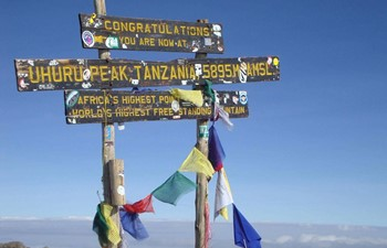 Uhuru Peak sign at the summit of Mount Kilimanjaro in Tanzania