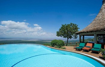 View from pool at Lake Manyara Serena Safari Lodge