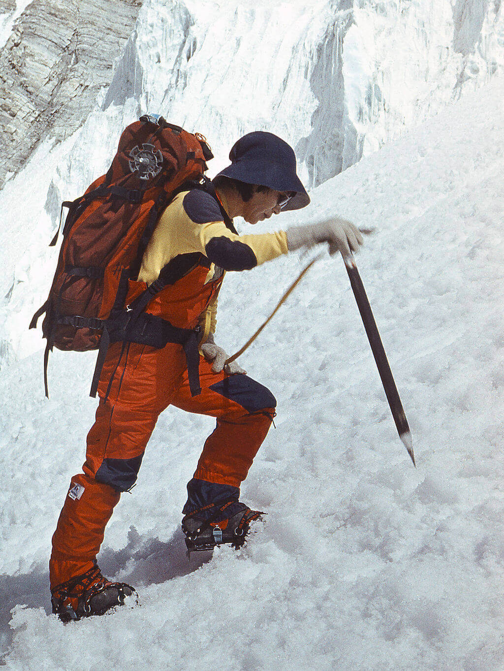 Junko Tabei female mountaineer in the snow