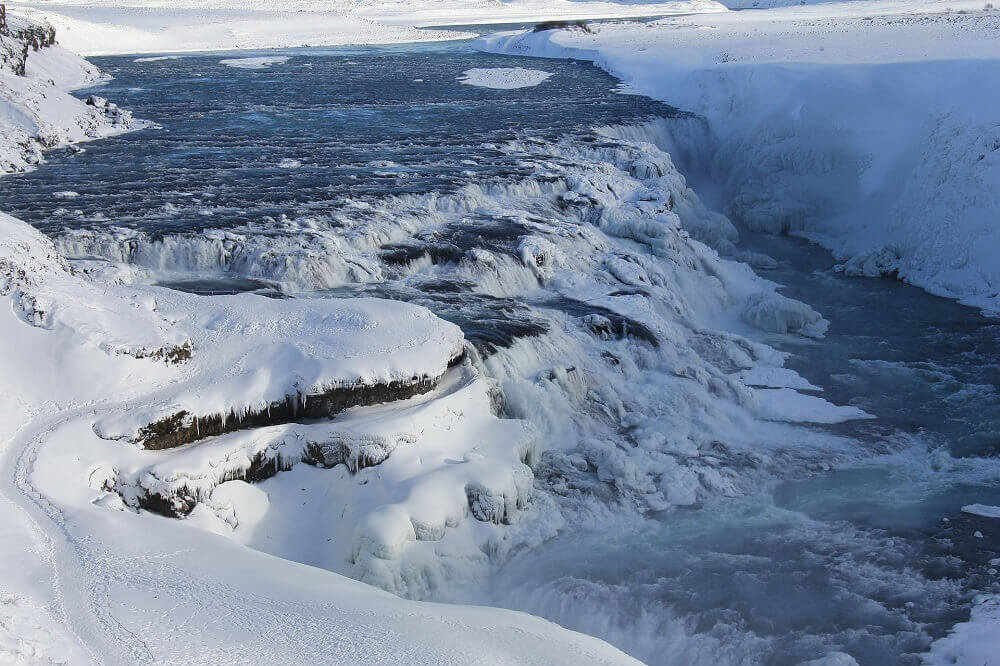 Gullfoss Falls in Iceland waterfall covered in snow during winter