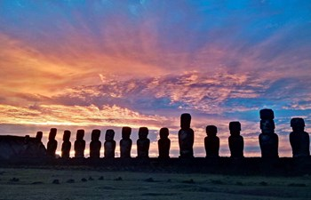 silhouettes of moai statues on easter island, chile