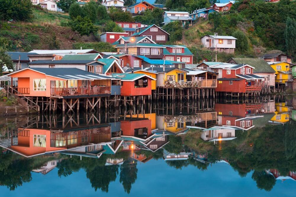 traditional stilt houses in chiloe island, chile