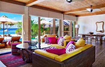 Living room in the two bedroom pool villa in Six Senses Laamu