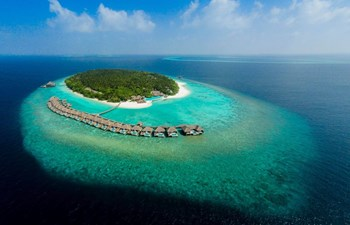 aerial view of the island dusit thani maldives