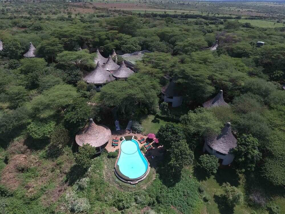 aerial view of lake manyara serena safari lodge, lake manyara national park, tanzania