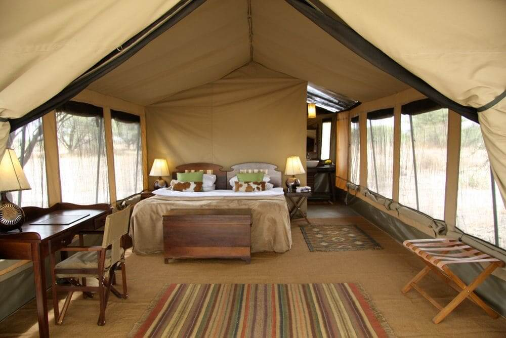 inside the luxury tent at manyara ranch conservancy, lake manyara national park, tanzania