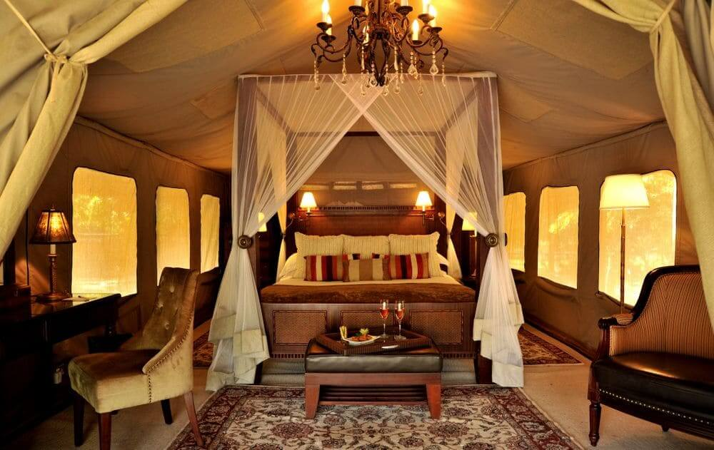 interior of a luxury tent at selous serena camp, selous game reserve, tanzania