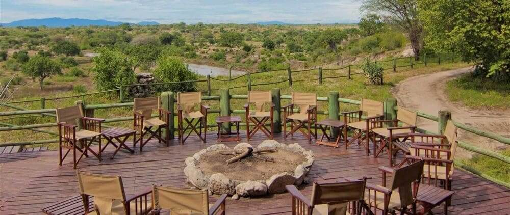 fireplace with panoramic views at tarangire river camp, tarangire national park, tanzania