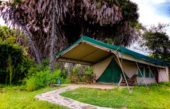 external view of the tent at Lake Manze Tented Camp, Selous Reserve, Tanzania