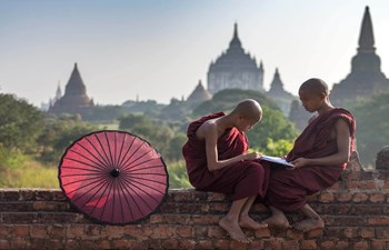 Burmese novice monks in Bagan, Myanmar (Burma)