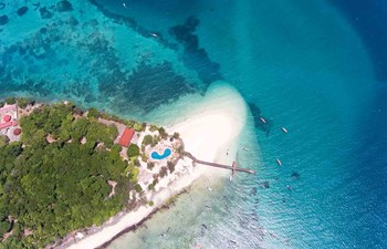 Ariel view of Changuu (Prison Island) in Zanzibar