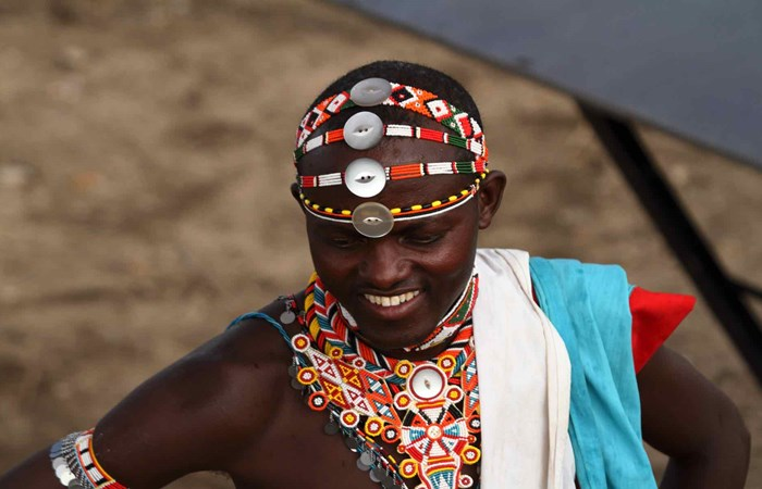 Traditional dress of Samburu warrior in Kenya