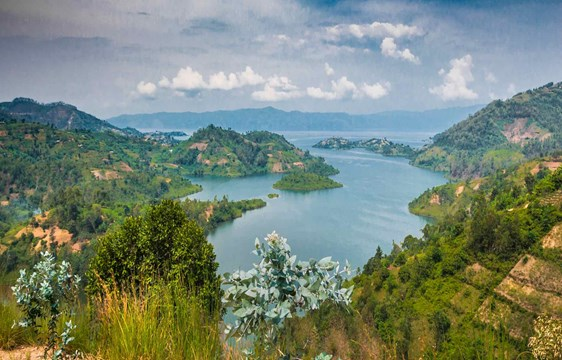 panoramic view over Lake Kivu in Rwanda