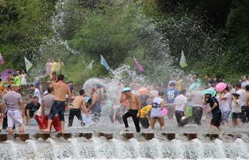 people splashing water for songkran thai new year