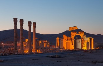 Palmyra, Syria illuminated at night