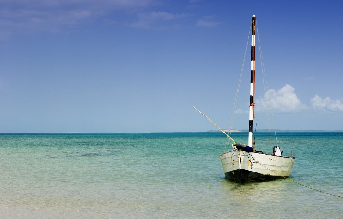 Dhow docked at Vilanculos beach, mozambique