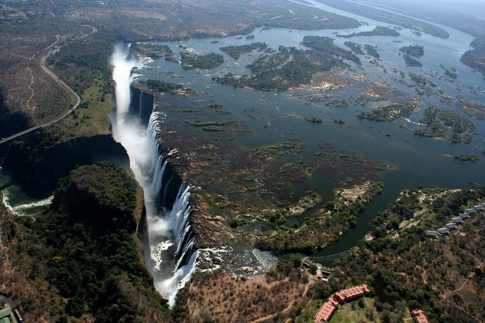 Victoria Falls view from a helicopter
