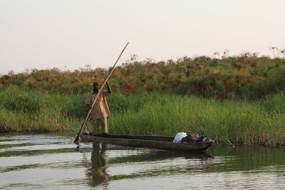 Traditional mokoro in Zambezi river