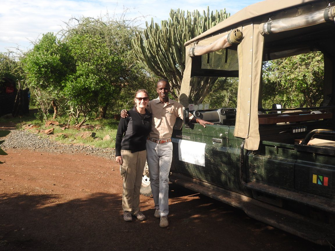 Thea preparing for a game drive in Kenya