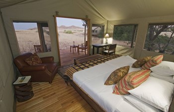 Interior of tent, Desert Rhino Camp