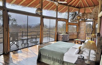 Bedroom interior in Tarangire Treetops