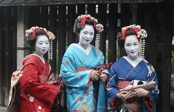 Three geisha women dressed in traditional kimono in Japan