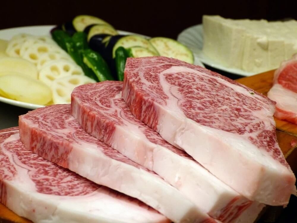 Japan Food Guide - slabs of raw Japanese Kobe beef
