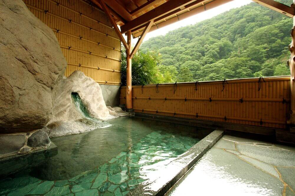 Communal onsen baths at Hakone Yamanochaya ryokan in Japan
