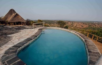 Pool view of Rwakobo Rock in Lake Mburo