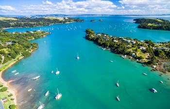 Aerial view of Waiheke Island in New Zealand