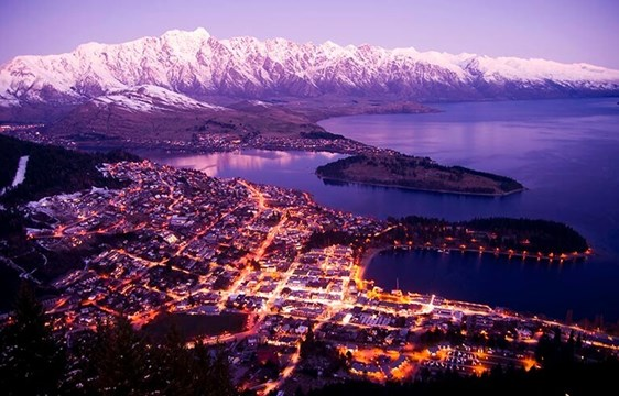 Aerial view of sunset in Queenstown, New Zealand