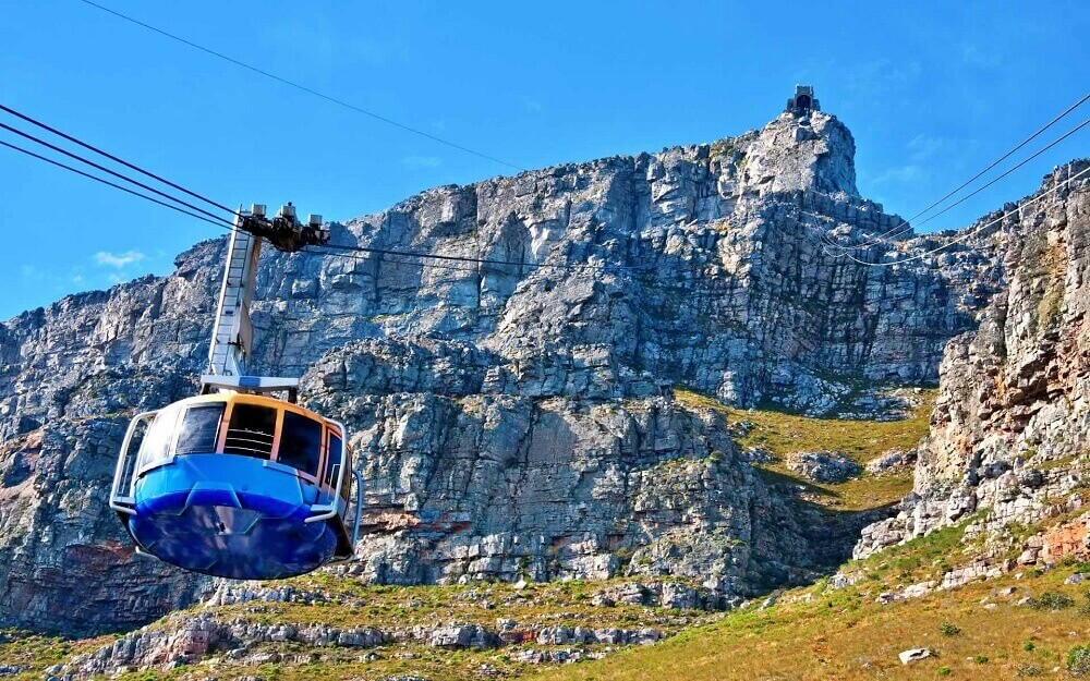 Cable car up to Table Mountain in Cape Town South Africa