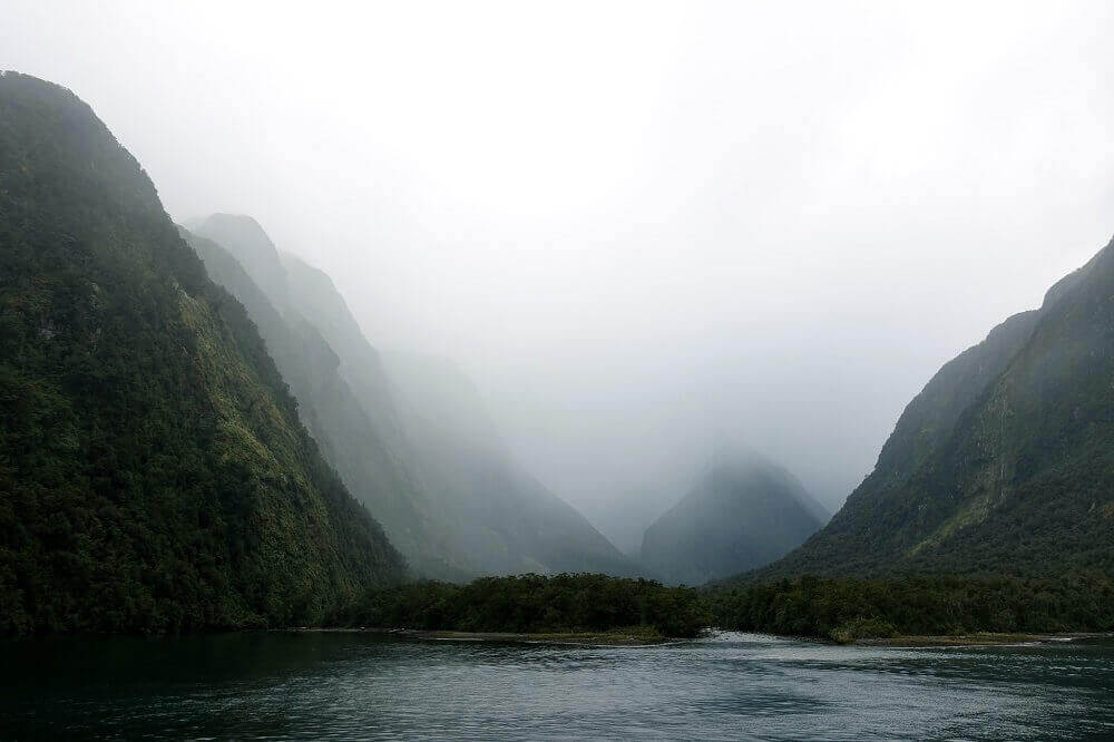 New Zealand Misty Mountains and Lake