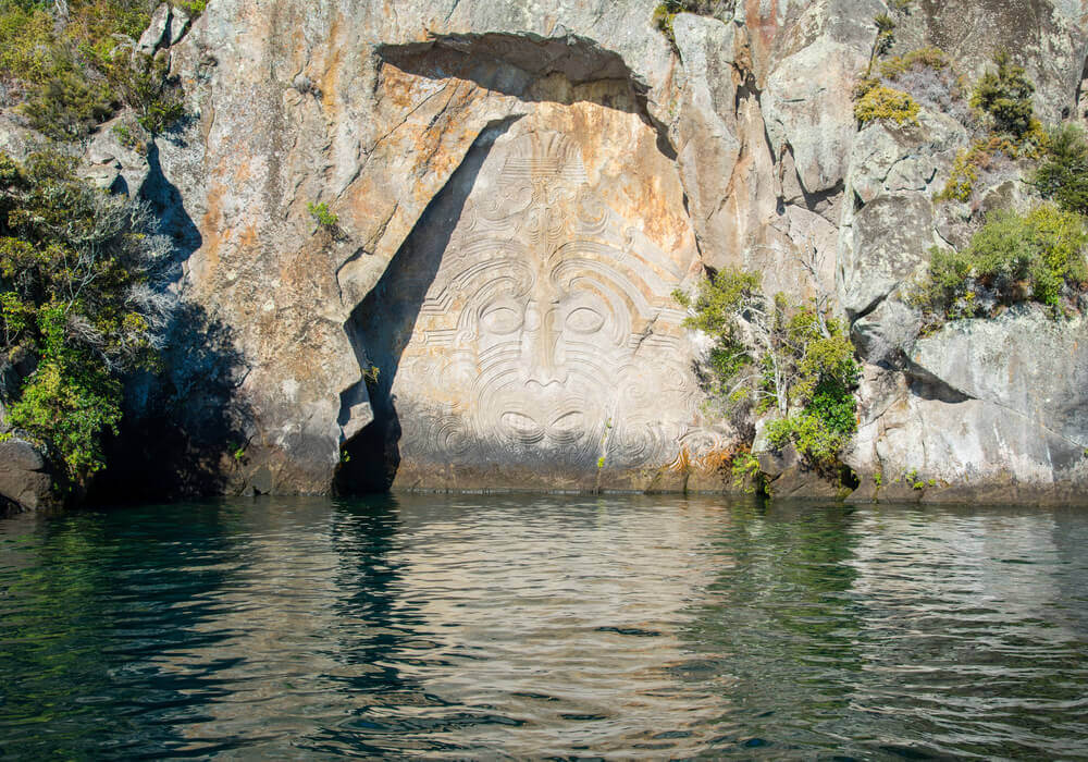 Lake Taupo maori carvings New Zealand