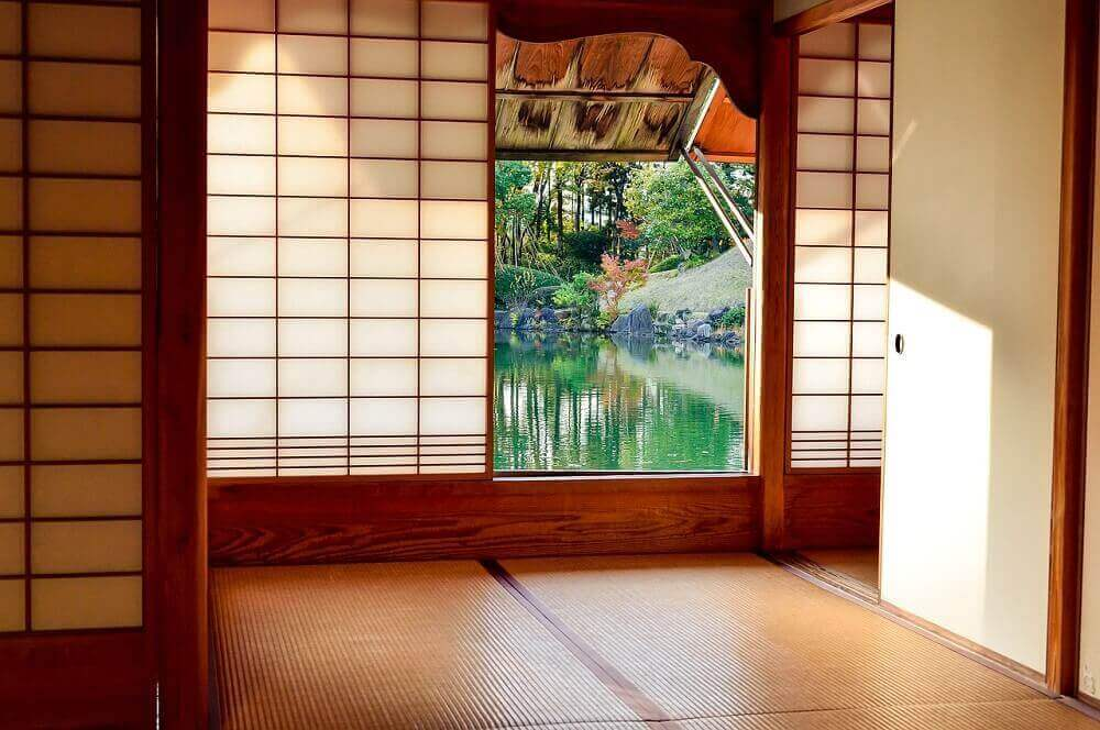 Paper screens traditional Japanese house