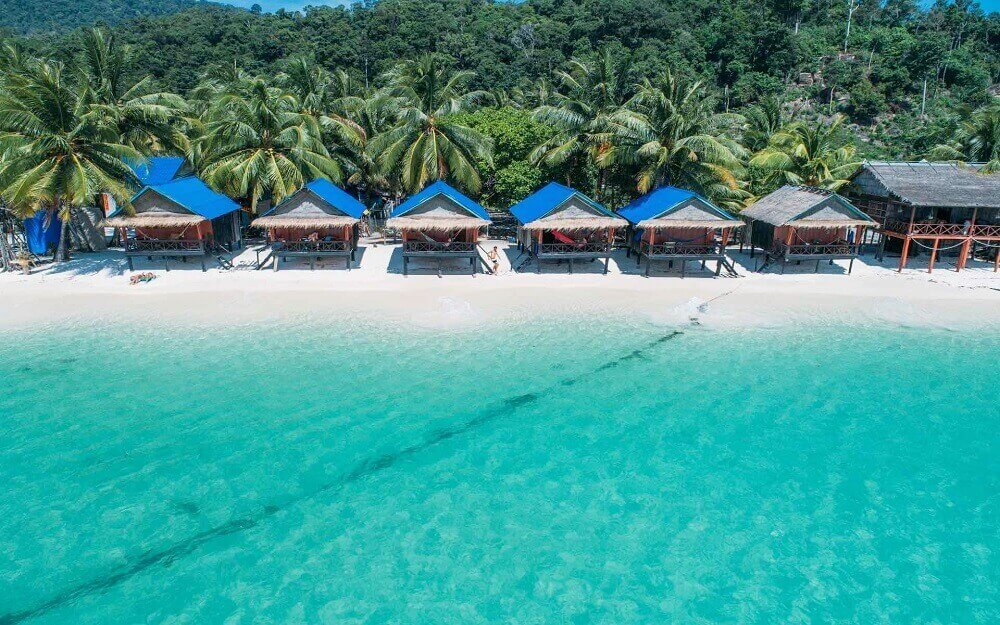 Koh Rong Island beach chalets from above in Cambodia