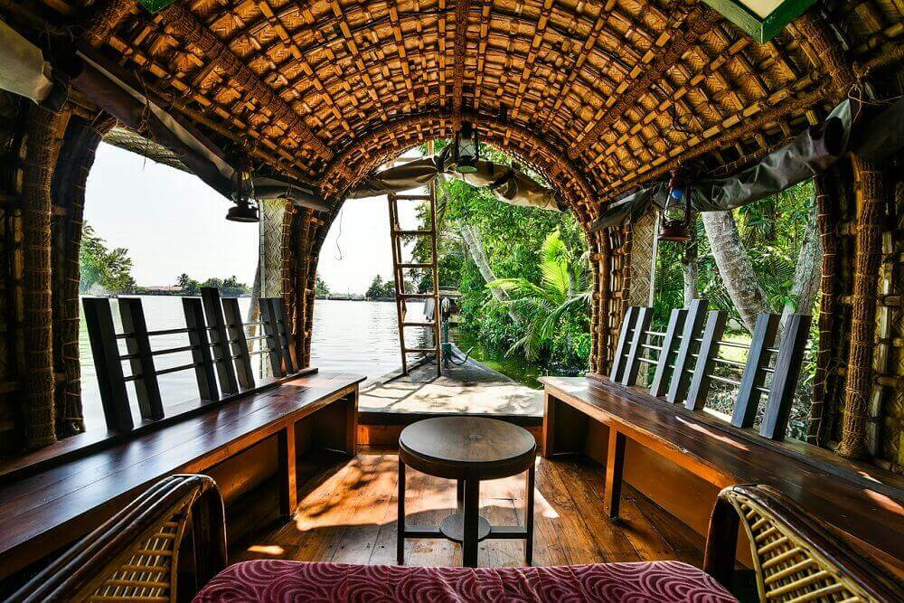 Inside a houseboat on Kerala's backwaters in India